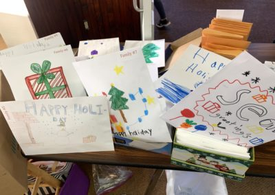 envelopes decorated by Ashley White's VFES Cares student club